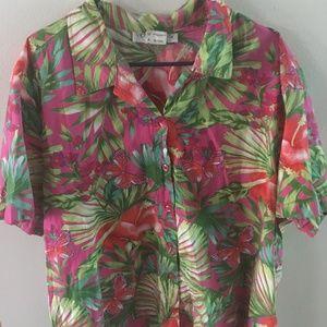 3X Victoria Jones Hawaiian Button Shirt